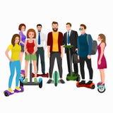 Actieve volkerenpret met elektrische autoped, familie op nieuwe moderne technologie hoverboard, man vrouw en kind zelfsaldo Stock Foto