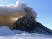 Actieve vulkaan Kizimen in Kamchatka Royalty-vrije Stock Fotografie