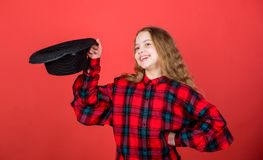 Acting lessons guide children through wide variety of genres. Develop talent into career. Girl artistic kid practicing. Acting skills with black hat. Enter stock photography