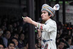 An acting male folk singer. This is a scene of national song and dance performances which in Yangshuo of guangxi zhuang autonomous prefecture of China. Taken on Royalty Free Stock Image