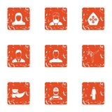 Acting person icons set, grunge style. Acting person icons set. Grunge set of 9 acting person vector icons for web isolated on white background Stock Photo