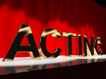 Acting Word On Stage Showing Drama Stock Images
