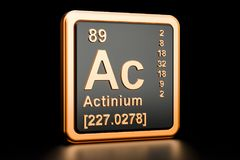 Actinium Ac chemical element. 3D rendering. Actinium Ac, chemical element. 3D rendering isolated on black background royalty free illustration