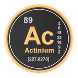 Actinium Ac chemical element. 3D rendering. Isolated on white background stock illustration