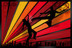 Action. Illustration with fighting men silhouettes against urban colourfull scene Royalty Free Stock Images