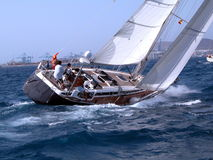 Action!!. During a regatta in Canaries Royalty Free Stock Photos