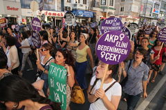 Action against anti-abortion law. Istanbul,Turkey-June 18: Womens rallied in Istanbul on Sunday to protest proposed anti-abortion laws by Turkish Prime Minster stock image