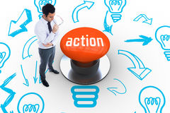 Action against orange push button Royalty Free Stock Photography