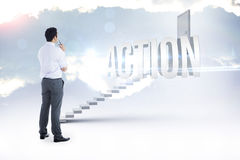 Action against white steps leading to closed door Royalty Free Stock Photography