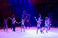 Action of artistic troupe of Moscow Circus on Ice Royalty Free Stock Photos