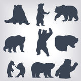 Action bear silhouette set Royalty Free Stock Photography