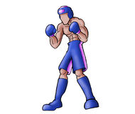 Action boxer. A negro boxer in blue ready to fight Stock Image