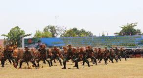 Action broken brick Indonesian TNI Stock Photos