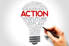 Action. Bulb word cloud, business concept Royalty Free Stock Image