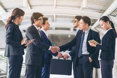 Action of business people meeting agreement stock image