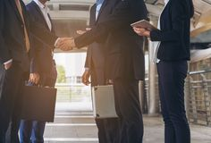 Action of business people meeting agreement. Two business group of executives, businesswomen, businessmen are in business meeting. Concept of business Stock Photo
