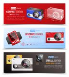 Action Camera Banners Set. Action camera horizontal banners set with distance control symbols realistic isolated vector illustration Stock Photography