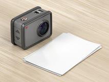 Action camera and blank photos Stock Photo
