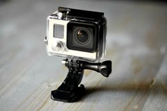 Action camera. Close up color shot of a small action camera Royalty Free Stock Photos