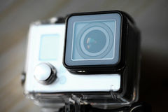 Action camera. Close up color shot of a small action camera Royalty Free Stock Images