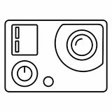 Action camera electronics film movie sports video. Flat outlines icon Royalty Free Stock Images