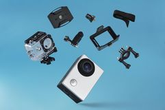 Action camera with equipments royalty free stock photos