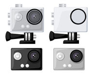 Action camera icons  set flat style Realistic  illustration. Gear for filming active rest. Action cam. Action camera icons  set flat style Realistic Stock Images