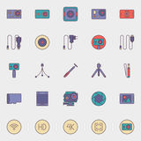 Action camera icons Stock Image