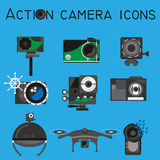 Action camera icons vector set flat style Stock Photography