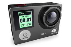 Action camera 4K for extreme video recording 3D. Action camera for extreme video recording 4K isolated on white background 3D vector illustration