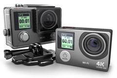 Action camera 4K  for extreme video recording 3D Stock Photography