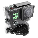 Action camera 4K for extreme video recording in a plastic box 3. Action camera for extreme video recording in a plastic box isolated on white background 3D royalty free illustration