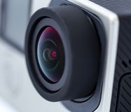 Action camera lens. Royalty Free Stock Photo
