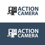 Action camera logo. Camera for active sports. Ultra HD. 4K. Action camera logo. Camera for active sports. Ultra HD. 4K Royalty Free Stock Photos