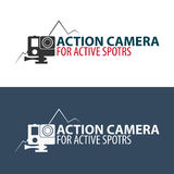 Action camera logo. Camera for active sports. Ultra HD. 4K. Action camera logo. Camera for active sports. Ultra HD. 4K Royalty Free Stock Photography