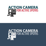 Action camera logo. Camera for active sports. Ultra HD. 4K. Action camera logo. Camera for active sports. Ultra HD. 4K Stock Image