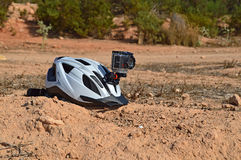 An Action Camera Mounted On A Bike Helmet Royalty Free Stock Photos