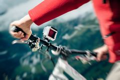 Action Camera Mounted On Mountain Bike Royalty Free Stock Photos