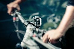 Action Camera Mounted On Mountain Bike Royalty Free Stock Image