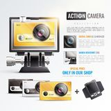 Action Camera Poster. With digital zoom symbols realistic vector illustration Royalty Free Stock Image