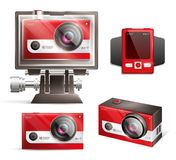 Action Camera Set. Action camera realistic set with shock resistant case isolated vector illustration Royalty Free Stock Image