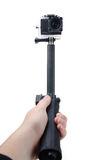Action camera selfie stick Royalty Free Stock Photography