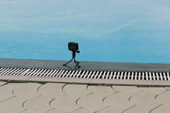 Action camera on a small tripod. Photo in the daytime Royalty Free Stock Image