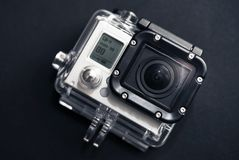 Action Camera. Small Action Camera in Water-Proof Housing. Video Technology Photo Collection Royalty Free Stock Images