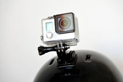 Action camera on sports helmet Royalty Free Stock Photos