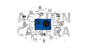 Action camera vector illustration. Portable video camera for extreme sport with items line art concept vector illustration