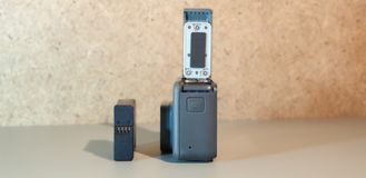 Action camera. Action video camera close-up. Action camera. Action video camera stock image