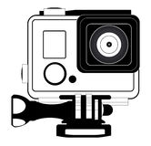 Action camera in waterproof box. Equipment for filming extreme sports,   illustration Royalty Free Stock Photos