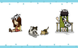 Action with cat. Actions of owner and cats Vector Illustration