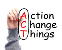 Action change things. Hand with marker is drawing Action change things on the transparent white board Royalty Free Stock Photo